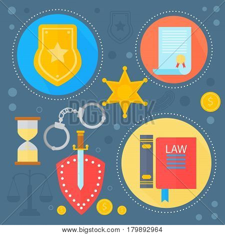 Law and justice design concept with justice icons infographics template icons in circles design, web elements, poster banner, Vector illustration