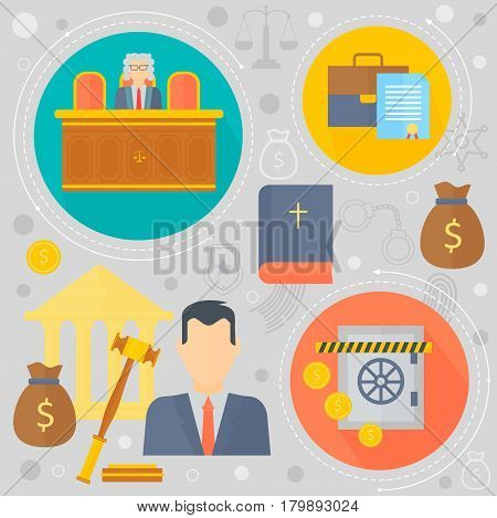 Law and justice design concept with prisoner, judge and court of law tribunal infographics template icons in circles design, web elements, poster banner, Vector illustration