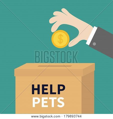Human hand putting golden coin money with dollar sign into donation paper cardboard box. Helping hands concept. Donate and help pets animals. Flat design style. Green background. Vector illustration.