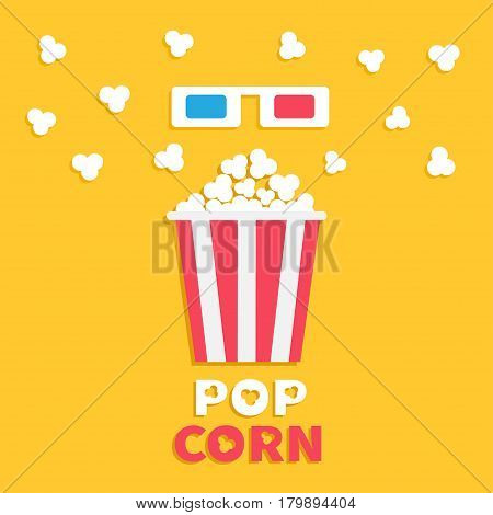 3D paper red blue glasses and big popping popcorn box. Fast food. Cinema movie icon in flat dsign style. Yellow background with text. Vector illustration