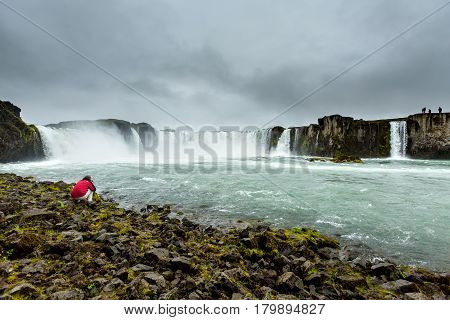 beautiful view of the Godafoss waterfall in Iceland