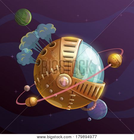 Fantasy steampunk planet on space background. Vector illustration.