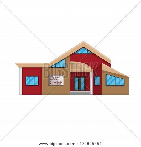 Daycare building in flat style isolated on white background Vector illustration. Kindergarten Pre-school education, a place where many children symbol for your projects.