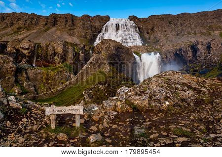 Big Dynjandi Waterfall In Iceland