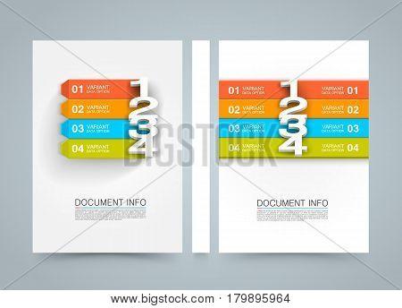 Document information menu banner book. A4 size paper, Template design element, Vector