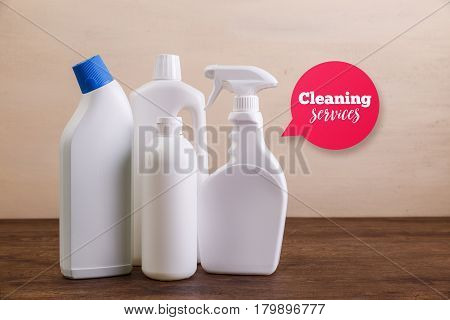 Mock-up plastic bottles. Cleaning services speech bubble. Cleaning products, washing wc cleaner. Mockup design for branding. Front view. Wooden rustic board.