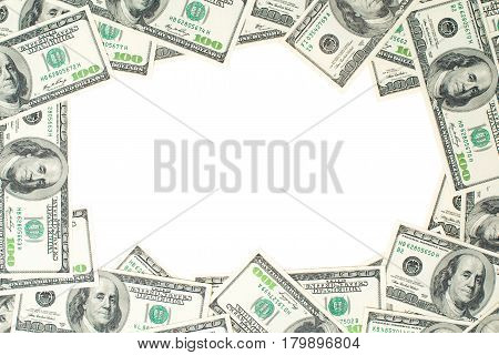 A frame of one hundred dollar bills. The skeleton of the dollar.