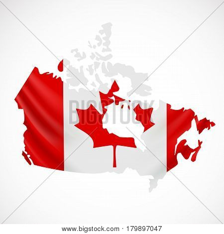 Hanging Canada flag in form of map. Canada. National flag concept. Vector illustration.