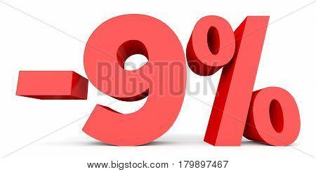 Minus Nine Percent. Discount 9 %.