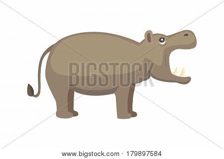Hippo cartoon style vector. Wild herbivorous animal. African fauna isolated illustration