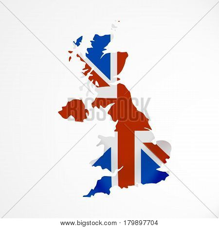 Great Britain flag in form of map. United Kingdom of Great Britain and Northern Ireland. British national flag concept. Vector illustration.