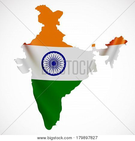 Hanging India flag in form of map. Republic of India. National flag concept. Vector illustration.