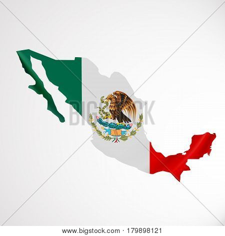 Hanging Mexico flag in form of map. United Mexican States. National flag concept. Vector illustration.