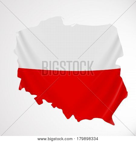 Poland flag in form of map. Republic of Poland. Polish national flag concept. Vector illustration.
