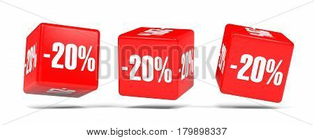 Twenty Percent Off. Discount 20 %. Red Cubes.