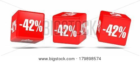 Forty Two Percent Off. Discount 42 %. Red Cubes.