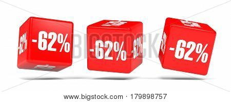 Sixty Two Percent Off. Discount 62 %. Red Cubes.