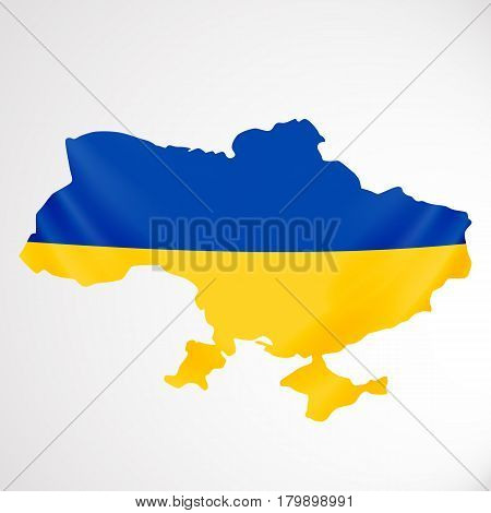 Ukraine flag in form of map. Ukraine. National flag and map concept. Vector illustration.