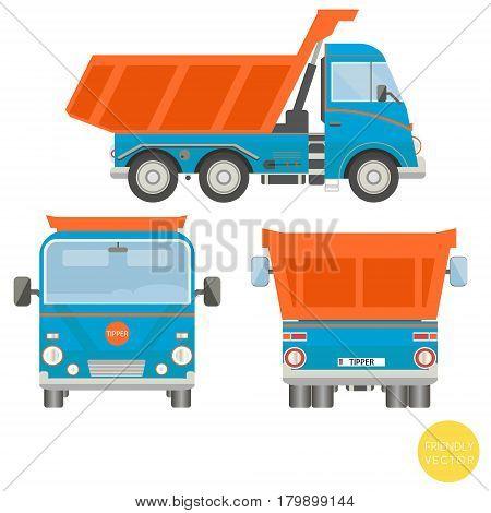 Cartoon transport. Dump truck vector illustration. View from side, back, front.