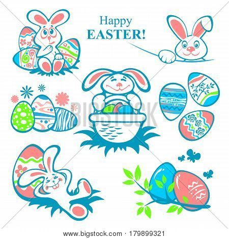 Easter eggs and rabbits isolated on white background. Holiday set. Design elements for greeting cards or flyers.