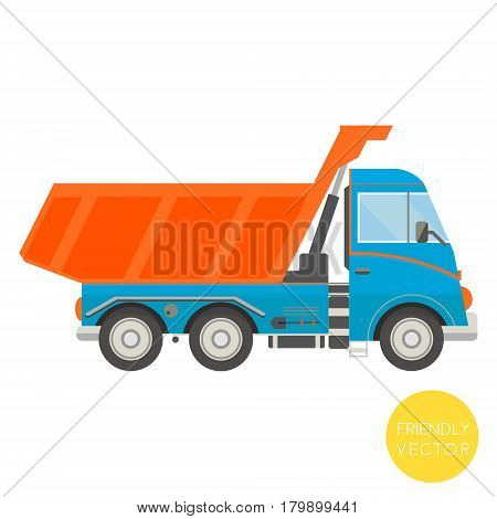 Cartoon transport. Dump truck vector illustration. View from side.