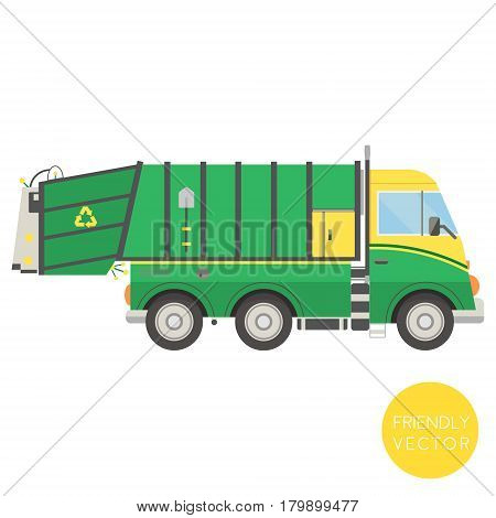 Cartoon transport. Garbage truck vector illustration. View from side.