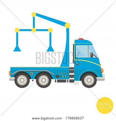 Cartoon transport. Tow truck vector illustration. View from side.