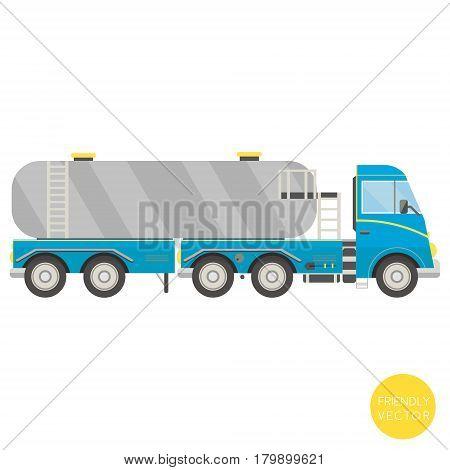 Cartoon transport. Tank truck vector illustration. View from side.
