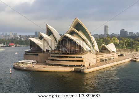 Sydney, Australia - Mar 19, 2017: Aerial view of Sydney Opera House in the morning