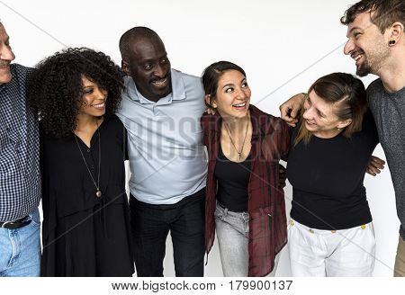 Diverse people are in a shoot