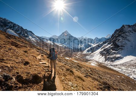 Trekker In Khumbu Valley In Front Of Abadablan Mount On A Way To Everest Base Camp