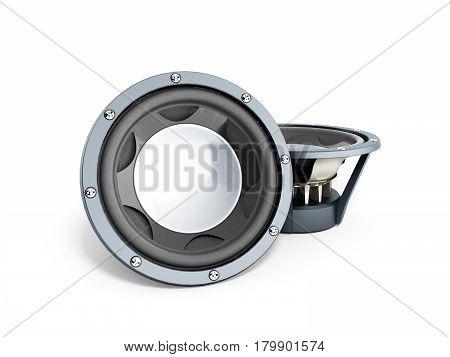 black loudspeakers 3d render on white close up