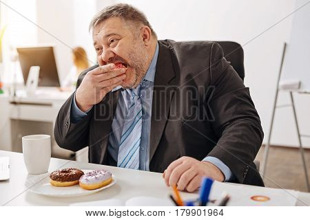 Enjoying a break. Funny busy chubby man consuming his favorite sweets with delights while having a snack at his workplace not spending time on a real lunch