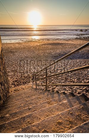 Stairs to the beach for the sunset (Les Sables d'Olonne, France)