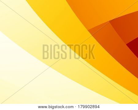 Simple abstract fractal background with yellow orange and red overlapping curved stripes. Text space.
