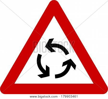 Warning sign with roundabout symbol on white background