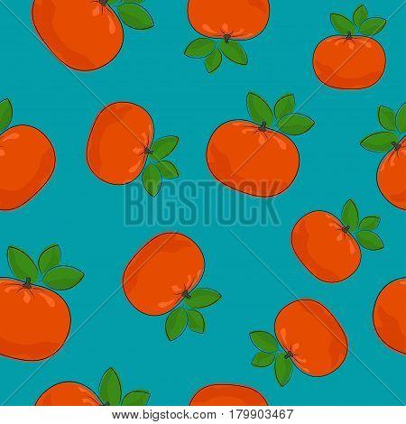 Seamless Pattern of Mandarin, Fruit Tropical Citrus  Tangerine on Azure Background, Vector Illustration
