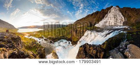 beautiful view of the Big Dynjandi waterfall in Iceland
