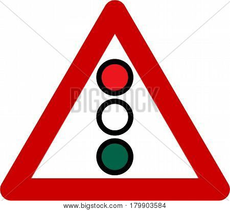 Warning sign with traffic light symbol on a white background