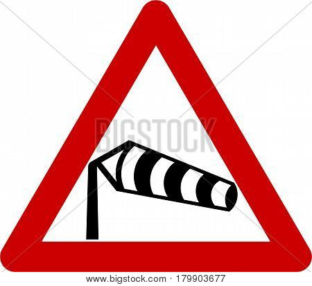 Warning sign with crosswinds symbol on white background