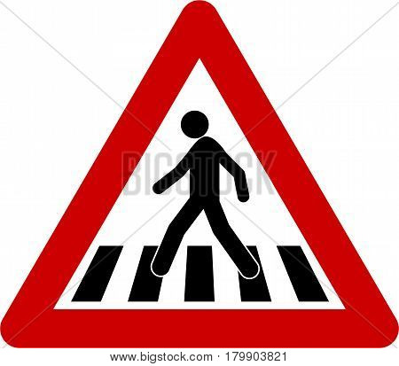 Warning sign with crosswalk symbol on white background