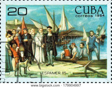 UKRAINE - CIRCA 2017: A postage stamp printed in Cuba shows Departure of colon of moguer sticks from the series International Philately Exhibition of Iberoamerica Havana Espamer 85 circa 1984