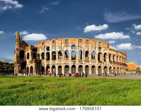 Roman Colosseum with copy space, Rome, Italy
