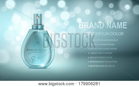 Turquoise realistic parfume bottle isolated on the sparkling effects background. Mock-up of Perfume advertisement. Women perfume in beautiful bottle.