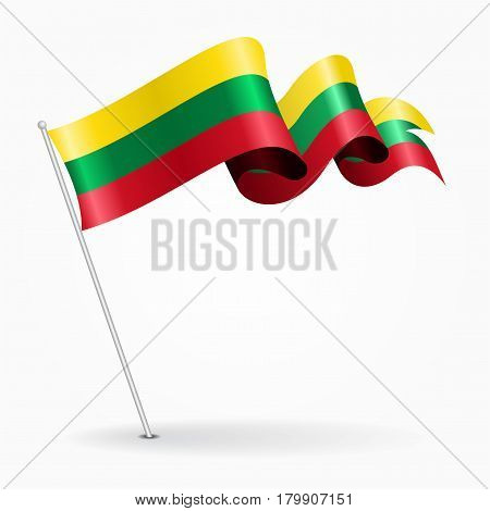 Lithuanian pin icon wavy flag. Vector illustration.