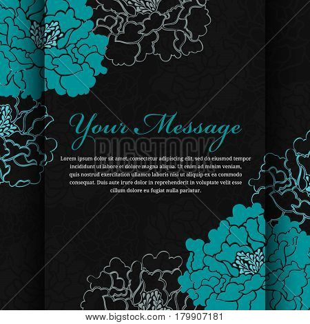 Emerald flower Peony on black background abstract art vector design
