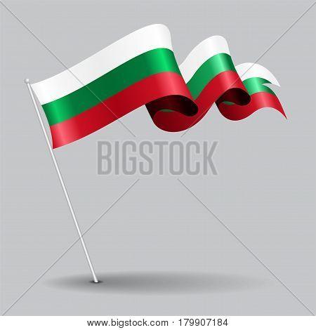 Bulgarian pin icon wavy flag. Vector illustration.