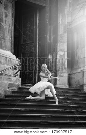 Ballet takes dedication. Monochrome vertical portrait of a young ballerina performing outdoors