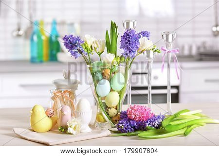 Beautiful Easter decorations on table