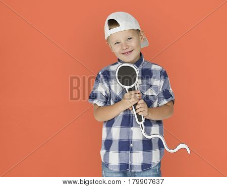 Caucasian Little Boy Microphone Smiling